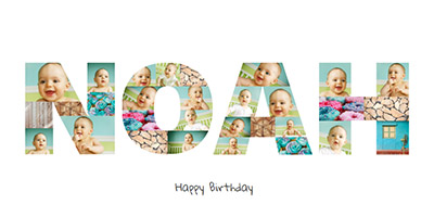Letter Photo Collage for Birthday with Textbox