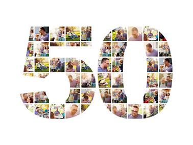 50 birthday photo collage slider