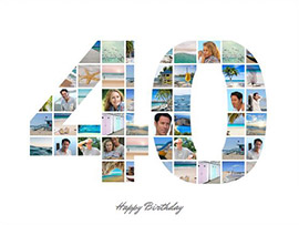 photo collage 40 birthday large text