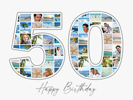50 Birthday Photo Collage with Caption
