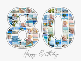 Number 80 Photo Collage with Text many photos