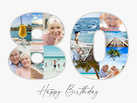 Number 80 Photo Collage with Text