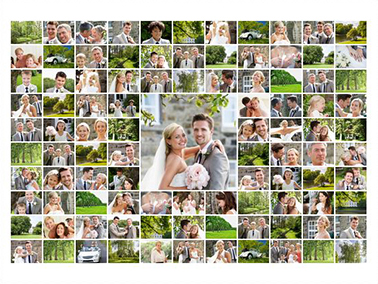 photo collage with 100 photos slider